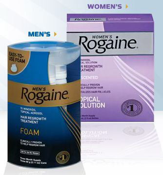 An advertisement for men's and women's Rogaine in Worcester, MA