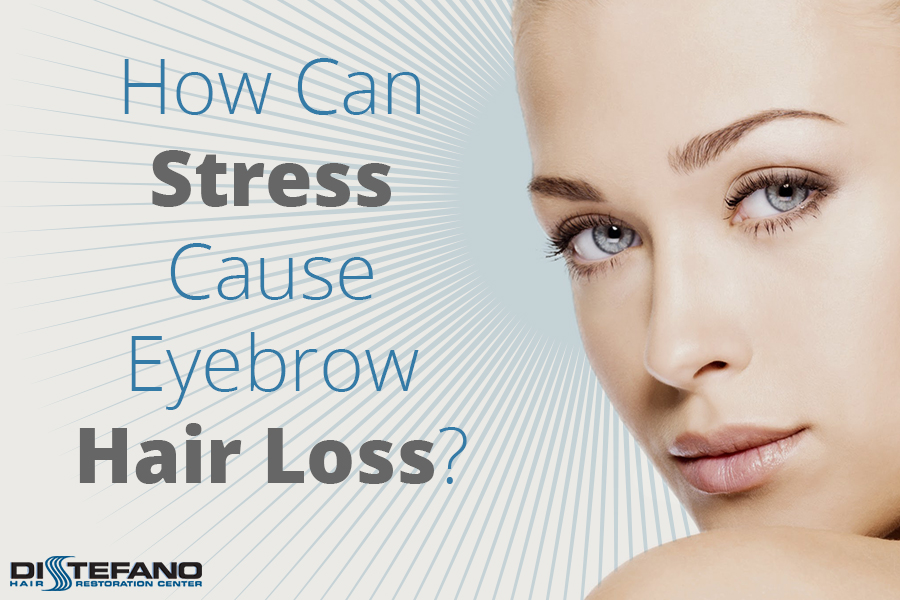 A woman's face and the title 'How Can Stress Cause Eyebrow Hair Loss' promoting the blog post